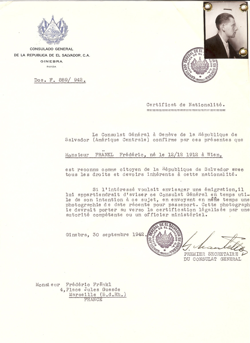 Unauthorized Salvadoran citizenship certificate issued to Frederic Frankl (b. December 12, 1912 in Viena) by George Mandel-Mantello, First Secretary of the Salvadoran Consulate in Switzerland, and sent to his residence in Marseille.