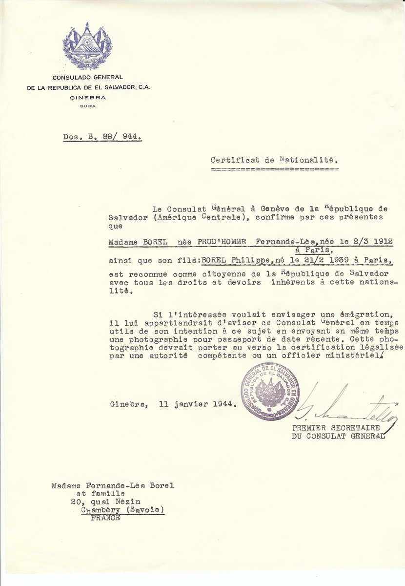 Unauthorized Salvadoran citizenship certificate issued to Fernande-Lea (nee Prud'homme) Borel (b. March 2, 1912 in Paris) and her son Philippe Borel (b. February 21, 1939 in Paris), by George Mandel-Mantello, First Secretary of the Salvadoran Consulate in Switzerland and sent to their residence in Chambery.