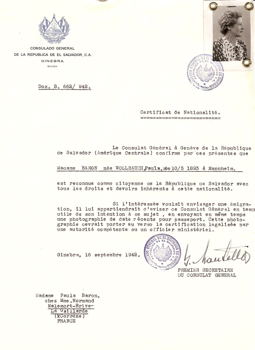 Unauthorized Salvadoran citizenship certificate issued to Paula (nee Wollrauch) Baron (b. May 10, 1893 in Mannheim), by George Mandel-Mantello, First Secretary of the Salvadoran Consulate in Switzerland and sent to her residence in Correze.
