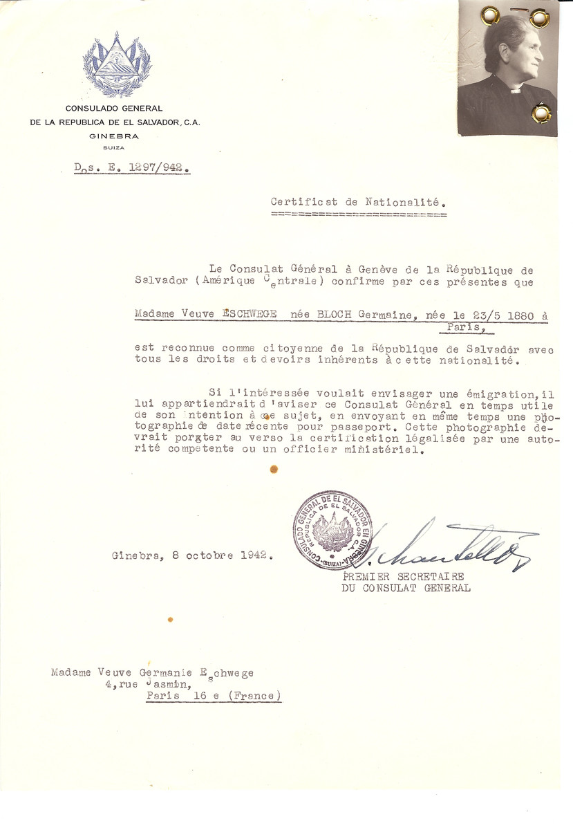 Unauthorized Salvadoran citizenship certificate issued to Germaine (nee Bloch) Eschwege (b. May 23, 1880 in Paris) by George Mandel-Mantello, First Secretary of the Salvadoran Consulate in Switzerland, and sent to her residence in Paris.