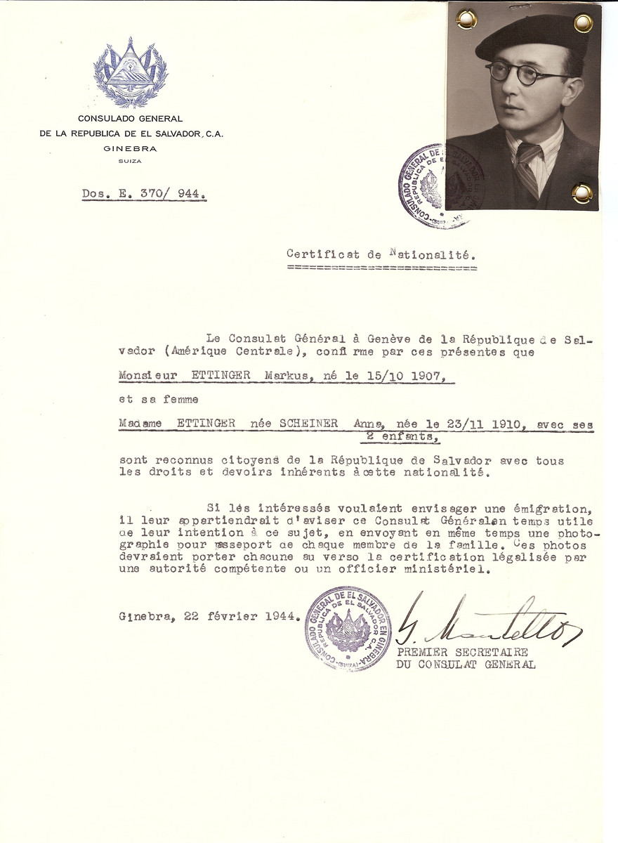 Unauthorized Salvadoran citizenship certificate issued to Markus Ettinger (b. October 15, 1907) and his wife Anna (nee Scheiner) Ettinger (b. November 23, 1910) and their two children by George Mandel-Mantello, First Secretary of the Salvadoran Consulate in Switzerland.