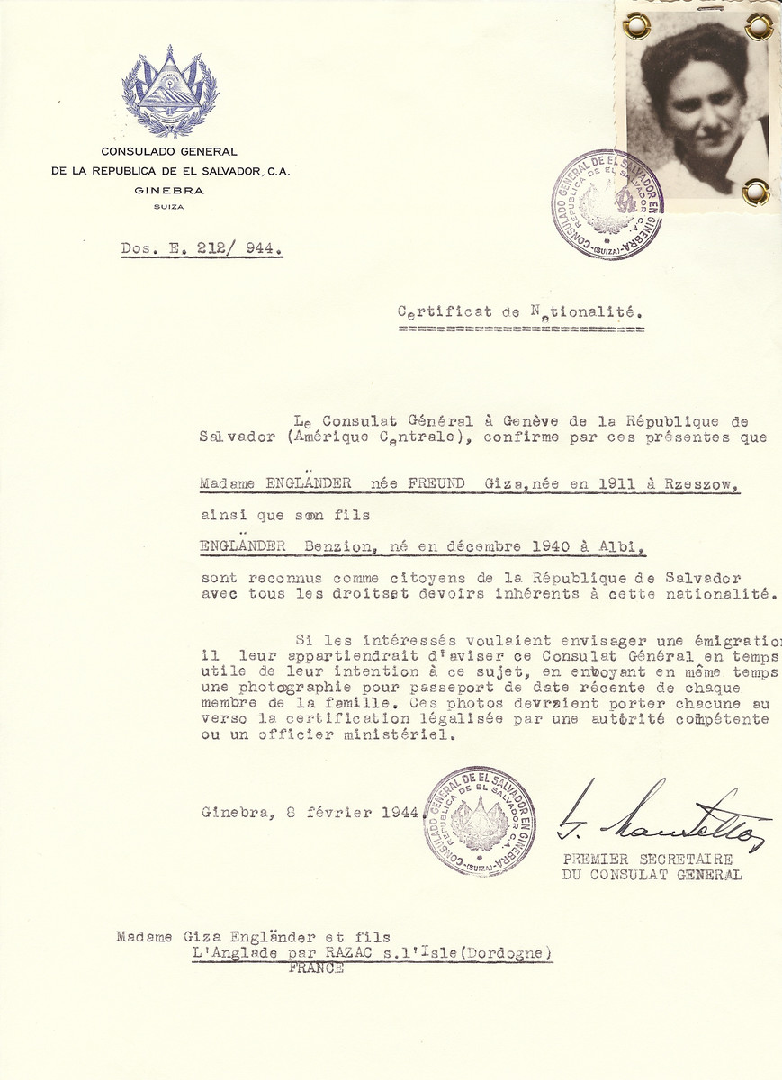 Unauthorized Salvadoran citizenship certificate issued to Giza (nee Freund) Englaender (b. 1911 in Rzeszow, Poland) and her son Benzion Englaender (b. December 1940 in Albi) by George Mandel-Mantello, First Secretary of the Salvadoran Consulate in Switzerland and sent to their residence in L'Anglade par Razac.