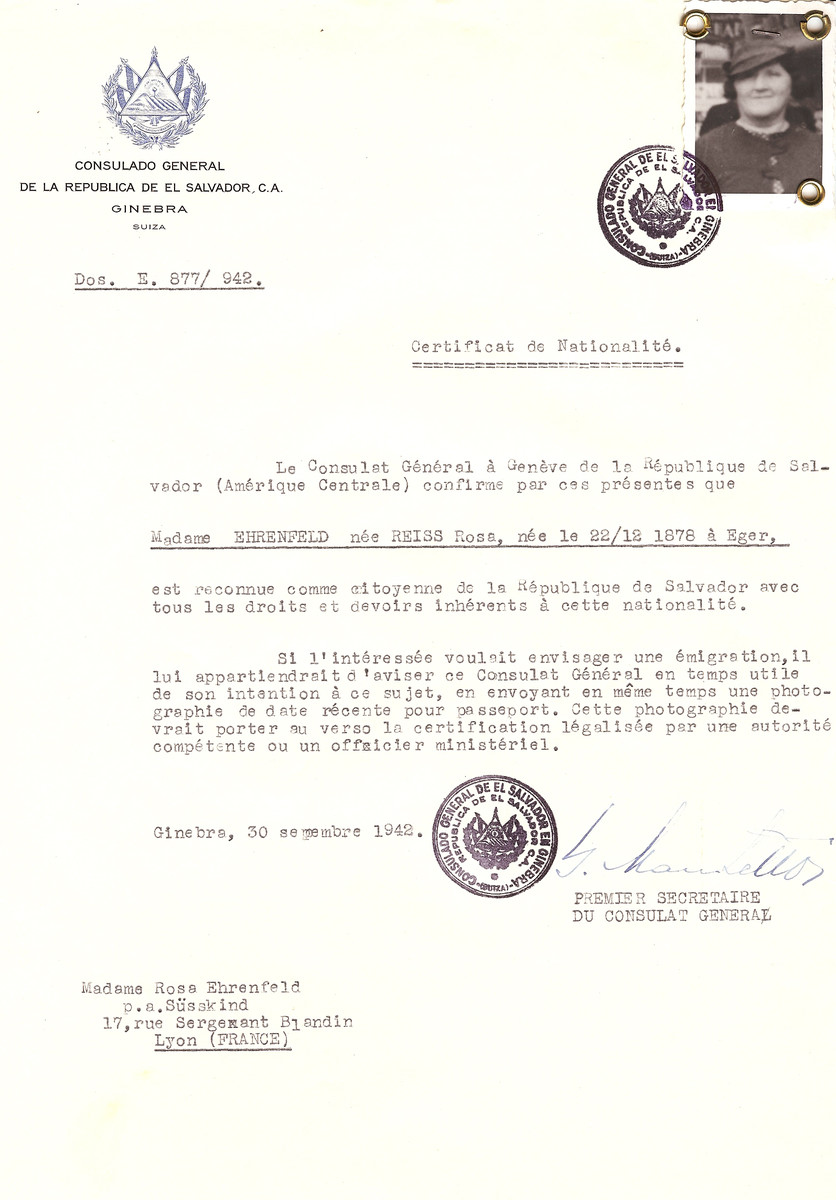 Unauthorized Salvadoran citizenship certificate issued to Rosa (nee Reiss) Ehrenfeld (b. December 22, 1878 in Eger by George Mandel-Mantello, First Secretary of the Salvadoran Consulate in Switzerland, and sent to her residence in Lyon.