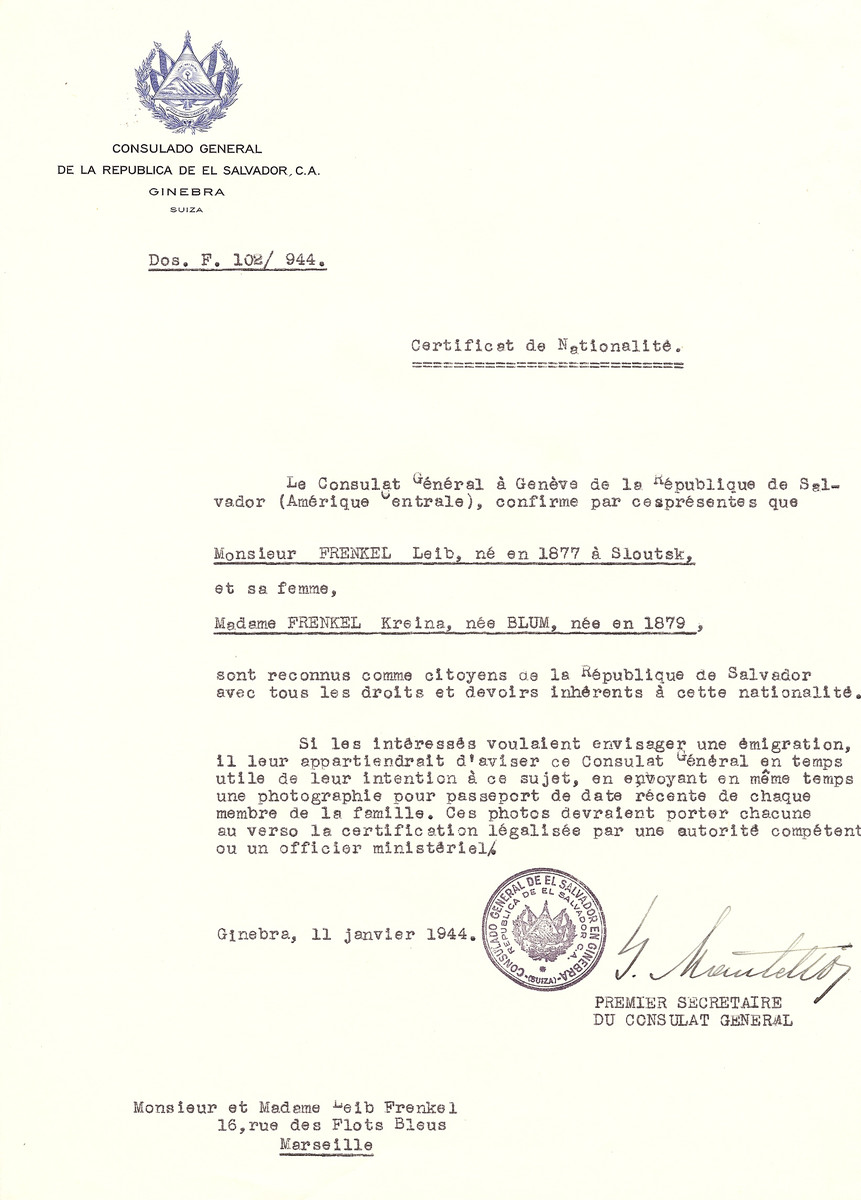 Unauthorized Salvadoran citizenship certificate issued to Leib Frenkel (b. 1877 in Sloutsk) and his wife Kreina (nee Blum) Frenkel (b. 1879) by George Mandel-Mantello, First Secretary of the Salvadoran Consulate in Switzerland, and sent to their residence in Marseille.