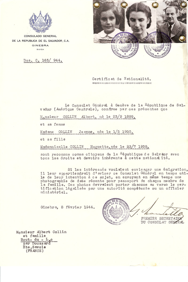 Unauthorized Salvadoran citizenship certificate issued to Albert Collin (b. September 23, 1899), his wife Jeanne Collin (b. May 1, 1905) and daughter Huguette (b. July 23, 1935) by George Mandel-Mantello, First Secretary of the Salvadoran Consulate in Switzerland and sent to their residence in Haute Savoie.