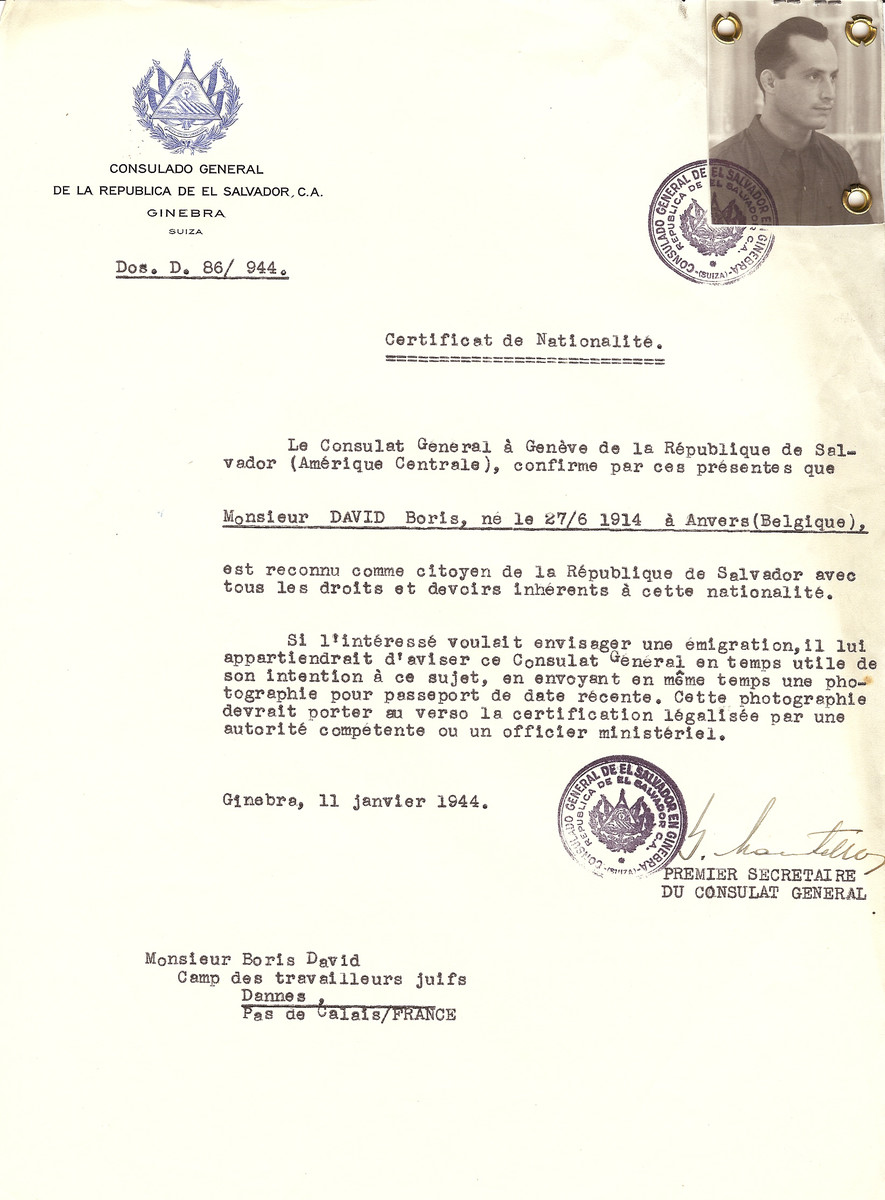 Unauthorized Salvadoran citizenship certificate issued to Boris David (b. June 27, 1914 in Antwerp) by George Mandel-Mantello, First Secretary of the Salvadoran Consulate in Switzerland and sent to him in a labor camp in Dannes.