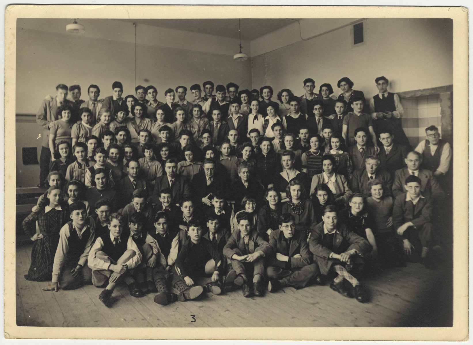 Postwar group portrait of students in the Jewish school in Amsterdam.  Among those pictured is Clary Vromen.