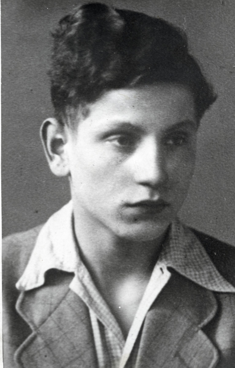Studio portrait of Benno Raifeld after his survival of Auschwitz and immigration to Palestine.