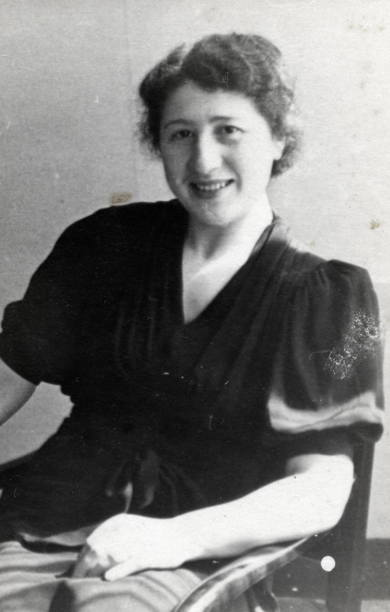 Close-up portrait of Rosa Weissbrod Rosenbaum taken about a year prior to the German invasion of The Netherlands.