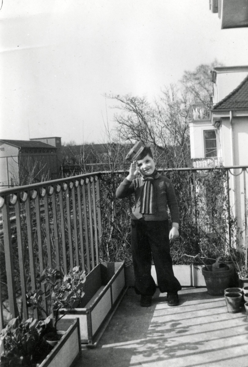 A Belgian Jewish boy on the balcony at the home of his foster parents, Jacque and Hedda Winkler.