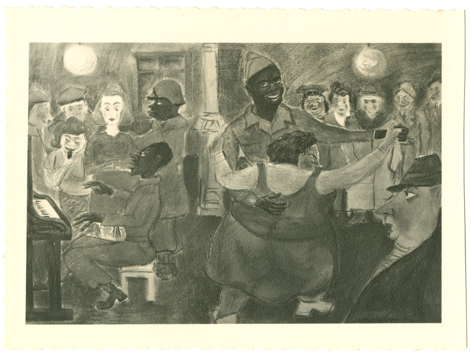 Caricature by by Julian Feingold of  showing Afro-American soldiers dancing with women.