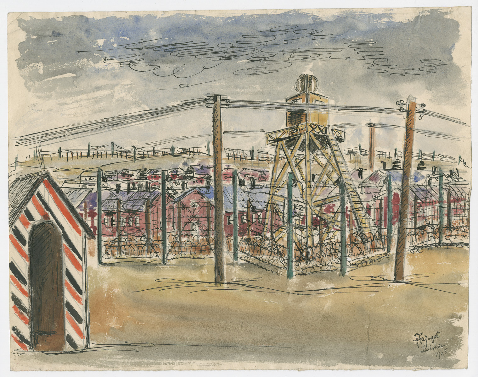 Watercolor by Julian Feingold of an unidentified concentration camp.