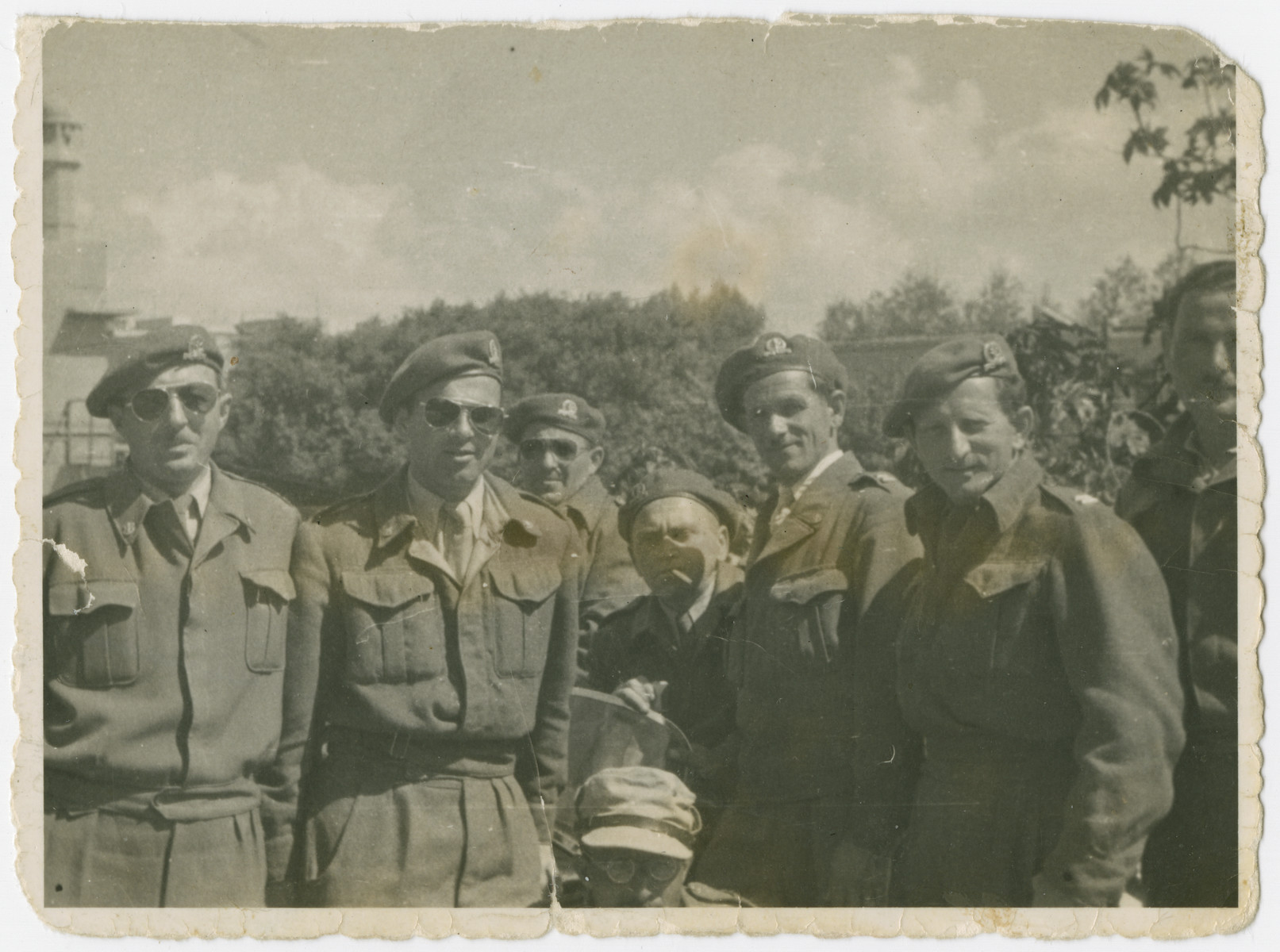 Group portrait of soldiers and officers of the Israeli Defence Forces.  Lt. Yehuda Bielski is standing third from the right.