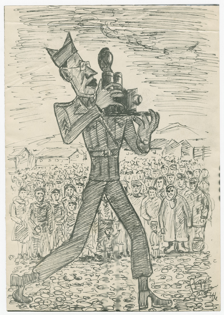 Cartoon sketch by Julian Feingold of a US Army photographer with a crowd of survivors in the background.