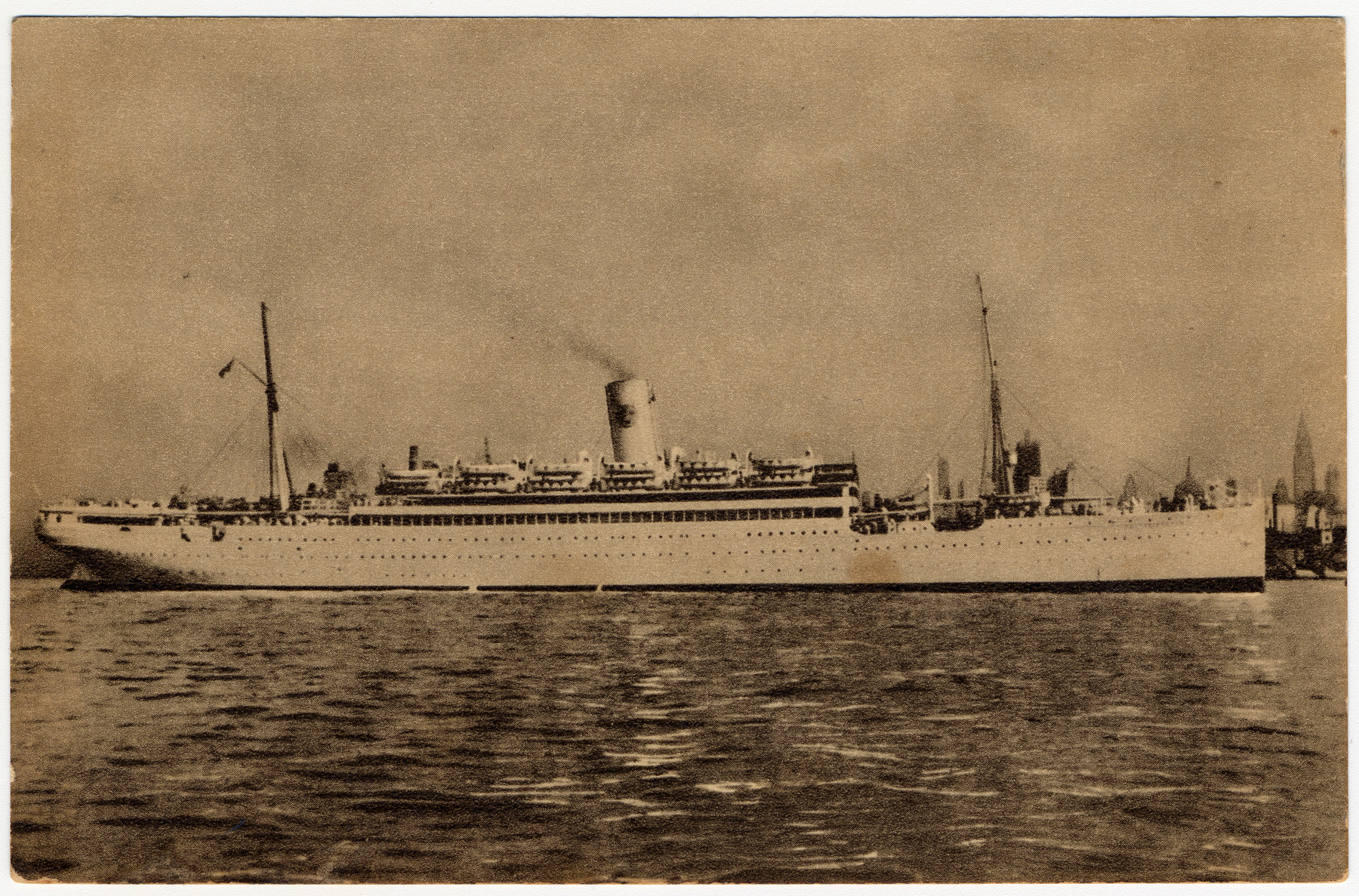 View of the Swedish ship, the S.S. Dottningholm, the ship that brought Henry Kolber to the United States.