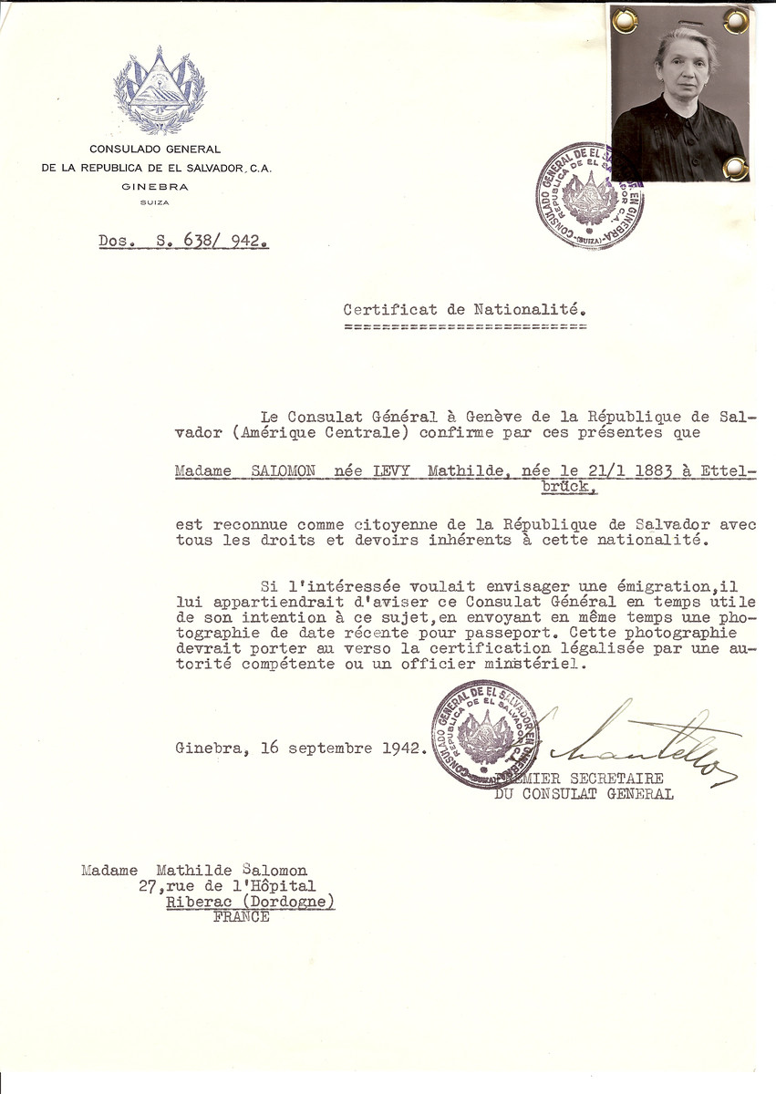 Unauthorized Salvadoran citizenship certificate issued to Mathilde (nee Levy) Salomon (b. January 21, 1883 in Ettelbrueck) by George Mandel-Mantello, First Secretary of the Salvadoran Consulate in Switzerland and sent to her residence in Riberac.