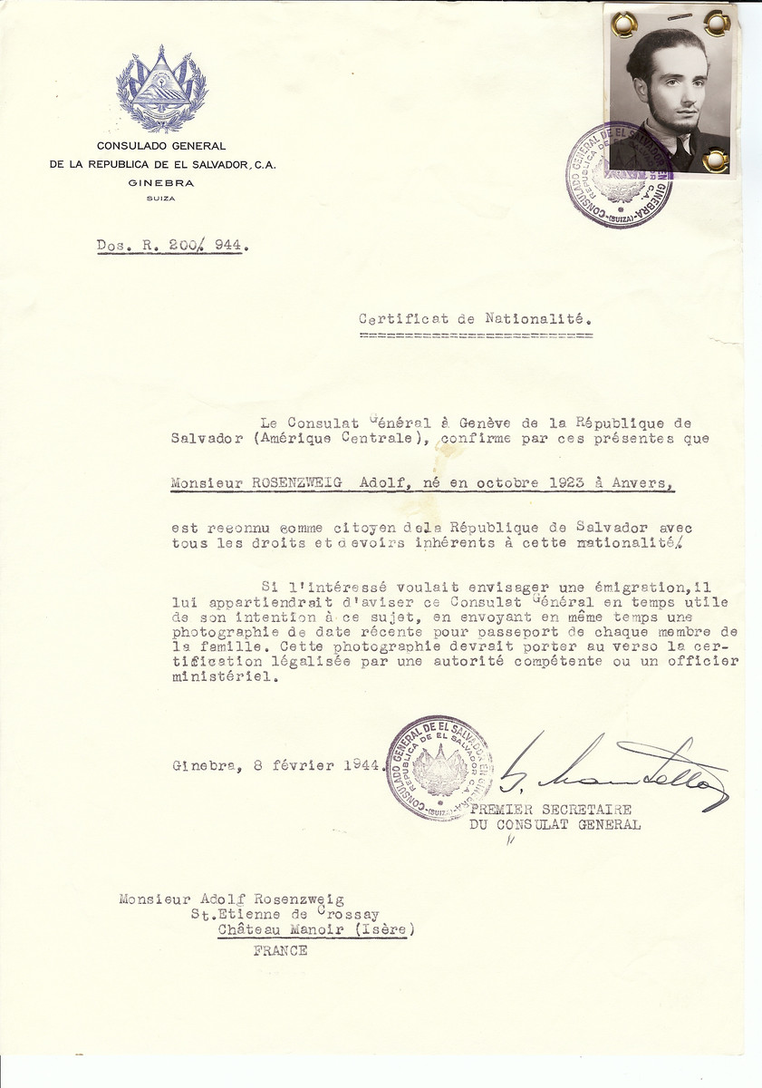 Unauthorized Salvadoran citizenship certificate issued to Adolf Rosenzweig (b. September 10, 1923 in Antwerp) by George Mandel-Mantello, First Secretary of the Salvadoran Consulate in Switzerland and sent to him at the Chateau Manoir children's home in St. Etienne de Crossey.   Chateau Manoir served as a religious children's home under the supervision of Rabbi Zalman Schneersohn.