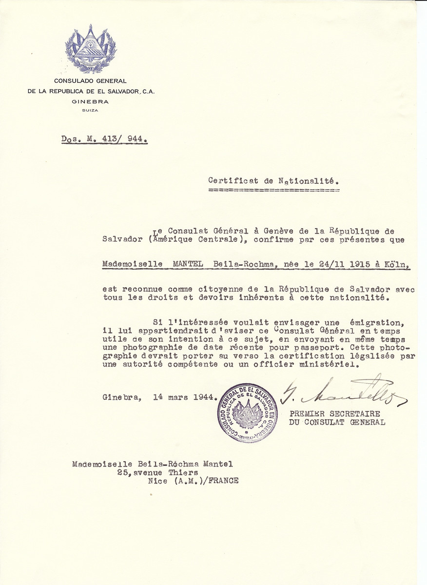 Unauthorized Salvadoran citizenship certificate issued to Belia-Rochma Mantel (b. October 24, 1915 in Cologne) by George Mandel-Mantello, First Secretary of the Salvadoran Consulate in Switzerland and sent to her residence in Nice.