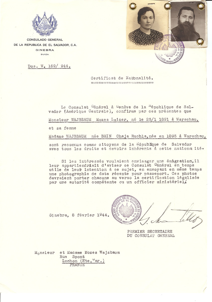 Unauthorized Salvadoran citizenship certificate issued to Mozes Laizer Wajsbaum (b.January 25, 1891 in Warsaw) and his wife Chaja (nee Bein) Wajsbaum (b. 1895 in Warsaw) by George Mandel-Mantello, First Secretary of the Salvadoran Consulate in Switzerland and sent to their residence in Luchon.