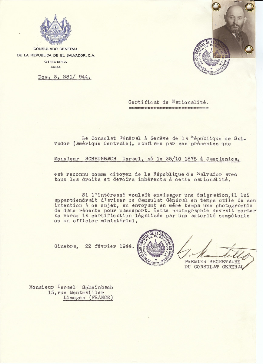 Unauthorized Salvadoran citizenship certificate issued to Israel Scheinbach (b. October 25, 1878 in Jascienice) by George Mandel-Mantello, First Secretary of the Salvadoran Consulate in Switzerland and sent to their residence in Limoges.
