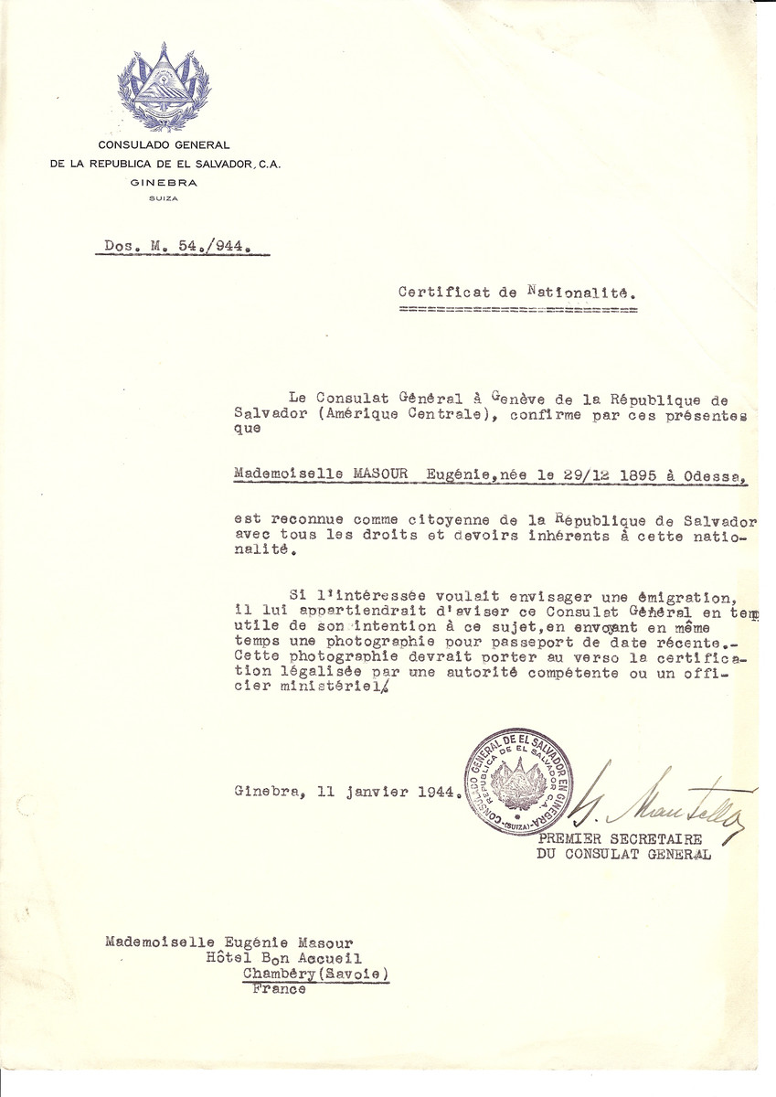 Unauthorized Salvadoran citizenship certificate issued to Eugenie Masour (b. December 29, 1895 in Odessa) by George Mandel-Mantello, First Secretary of the Salvadoran Consulate in Switzerland and sent to her residence in Chambery.