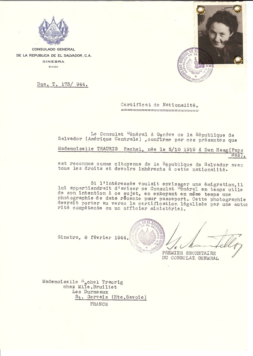 Unauthorized Salvadoran citizenship certificate issued to Rachel Traurig (b. Octobre 5, 1919 in Den Haag) by George Mandel-Mantello, First Secretary of the Salvadoran Consulate in Switzerland and sent to her residence in St. Gervais.