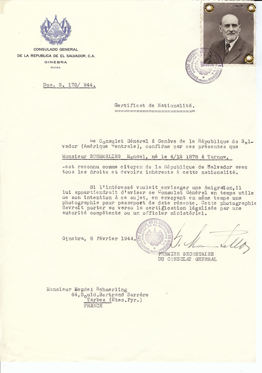 Unauthorized Salvadoran citizenship certificate issued to Mendel Schmerling (b. December 4, 1878 in Tarnow) by George Mandel-Mantello, First Secretary of the Salvadoran Consulate in Switzerland and sent to his residence in Tarbes.
