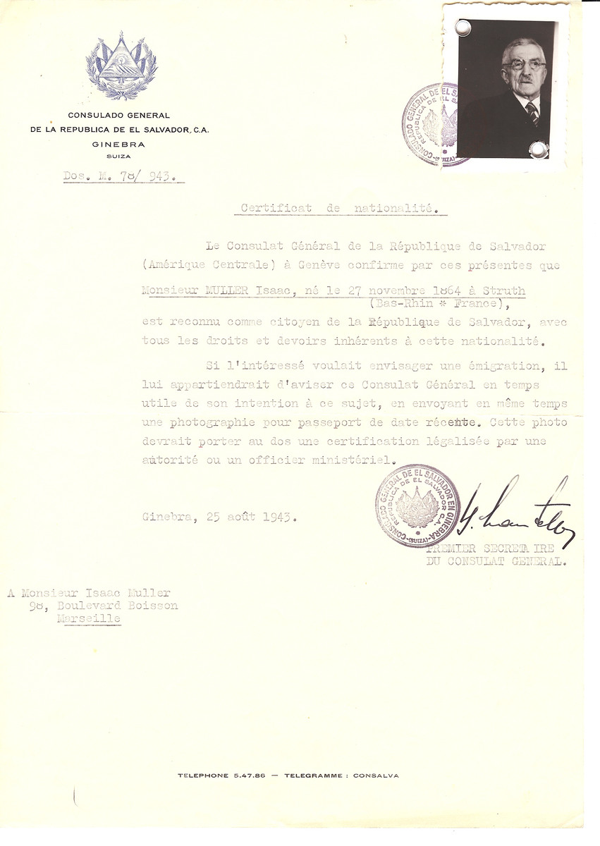Unauthorized Salvadoran citizenship certificate issued to Isaac Muller (b. 11/27/1864 in Struth) by George Mandel-Mantello, First Secretary of the Salvadoran Consulate in Switzerland and sent to his residence in Marseille.   Isaac died of natural causes in Millau on 04 January 1944.