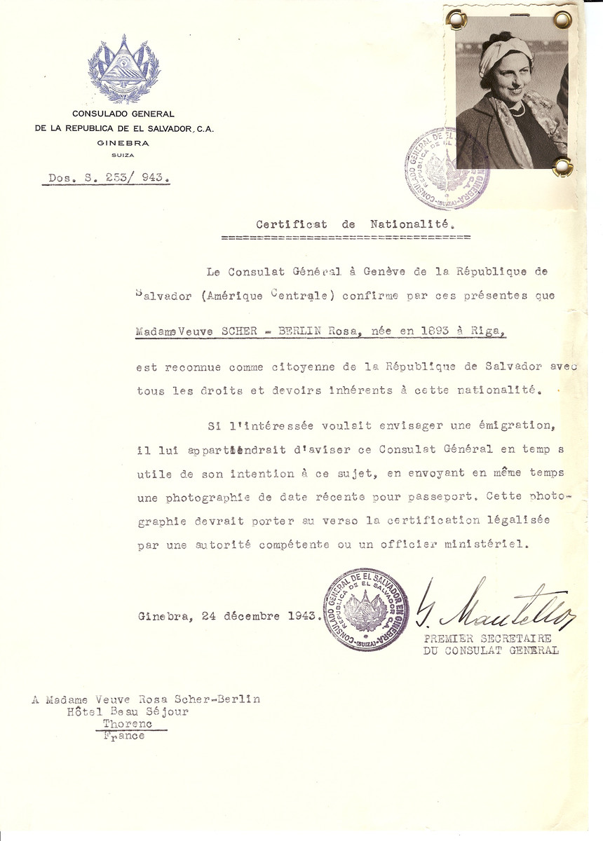 Unauthorized Salvadoran citizenship certificate issued to Rosa Scher Berlin (b. 1893 in Riga) by George Mandel-Mantello, First Secretary of the Salvadoran Consulate in Switzerland and sent to her residence in Thorenc.