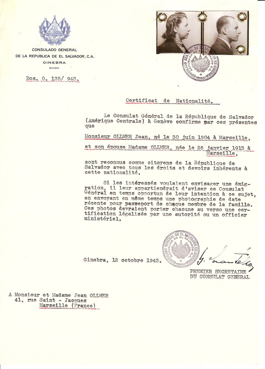 Unauthorized Salvadoran citizenship certificate issued to Jean Ollmer (b. June 30, 1904 in Marseille) and his wife (b. January 26, 1913 in Marseille) by George Mandel-Mantello, First Secretary of the Salvadoran Consulate in Switzerland and sent to his residence in Marseille.