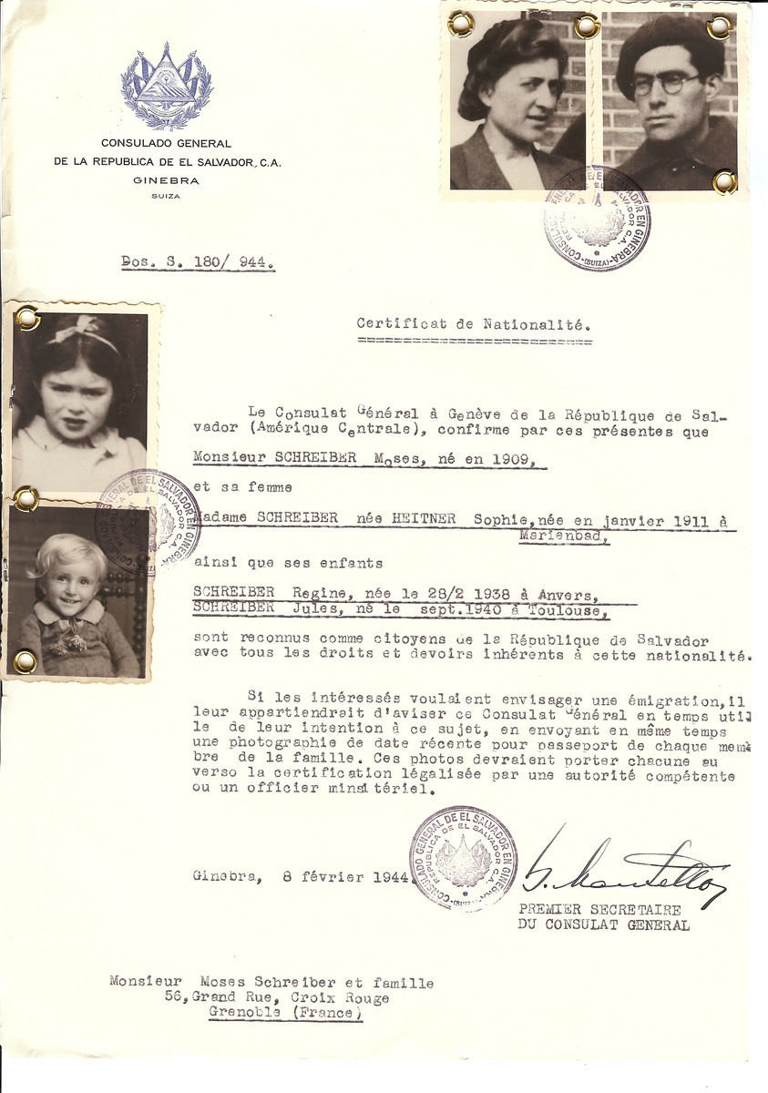 Unauthorized Salvadoran citizenship certificate issued to Moses Schreiber (b. 1909), his wife Sophie (nee Heitner) Schreiber (b. January 1911), and their children Regine (b. February 28, 1938 in Antwerp) and Jules (b. September 1940 in Toulouse) by George Mandel-Mantello, First Secretary of the Salvadoran Consulate in Switzerland and sent to their residence in Grenoble.