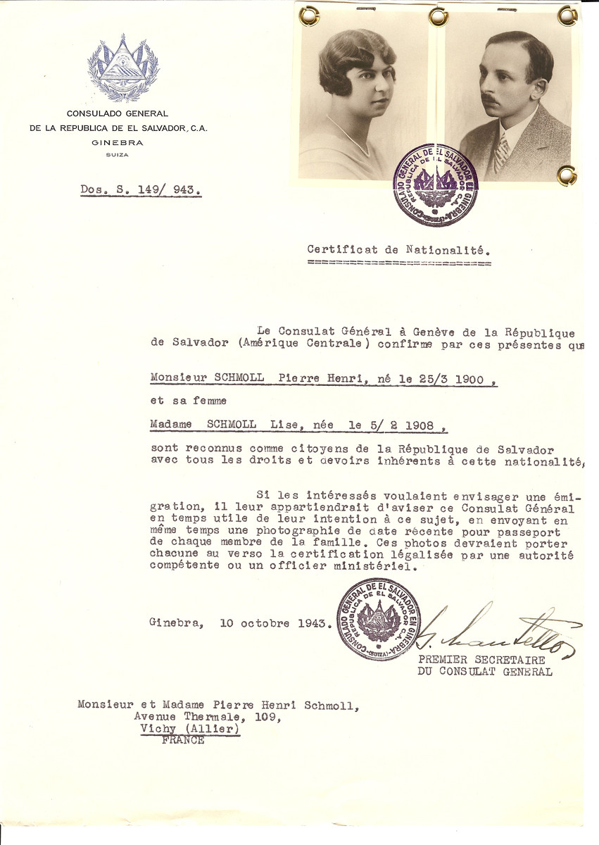 Unauthorized Salvadoran citizenship certificate issued to Pierre Henri Schmoll (b. March 25, 1900) and his wife Lise Schmoll (b. February 5, 1908) by George Mandel-Mantello, First Secretary of the Salvadoran Consulate in Switzerland and sent to their residence in Vichy.