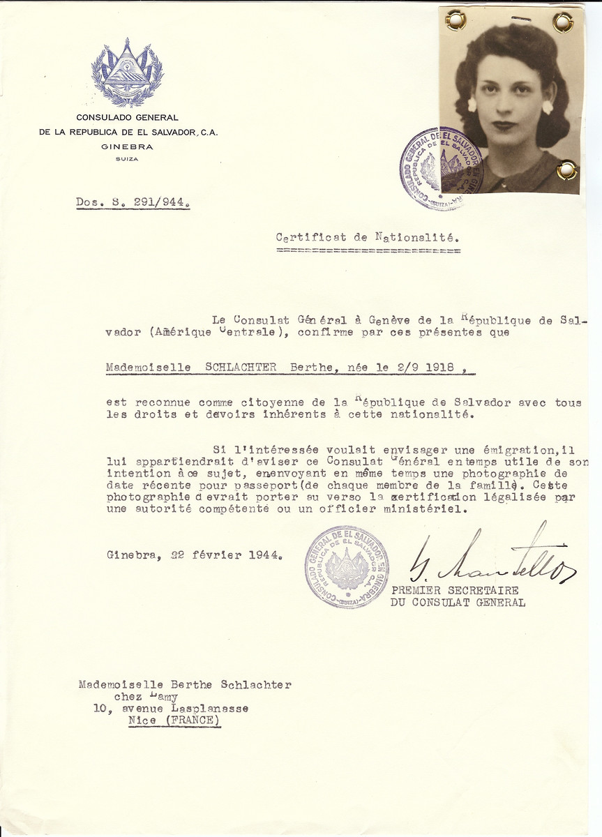 Unauthorized Salvadoran citizenship certificate issued to Berthe Schlachter (b. September 2, 1918) by George Mandel-Mantello, First Secretary of the Salvadoran Consulate in Switzerland and sent to her residence in Nice.