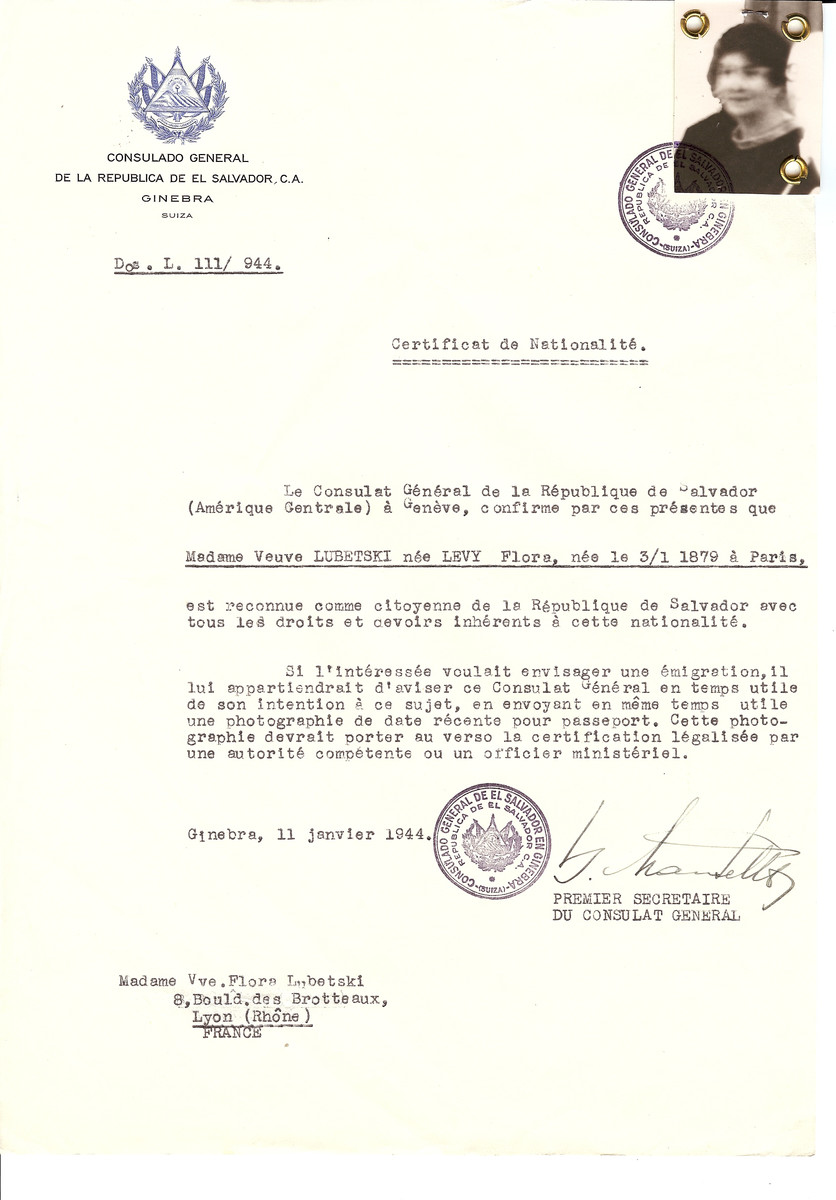 Unauthorized Salvadoran citizenship certificate issued to Flora (nee Levy) Lubetski (b. January 3, 1879 in Paris) by George Mandel-Mantello, First Secretary of the Salvadoran Consulate in Switzerland and sent to her residence in Lyon.