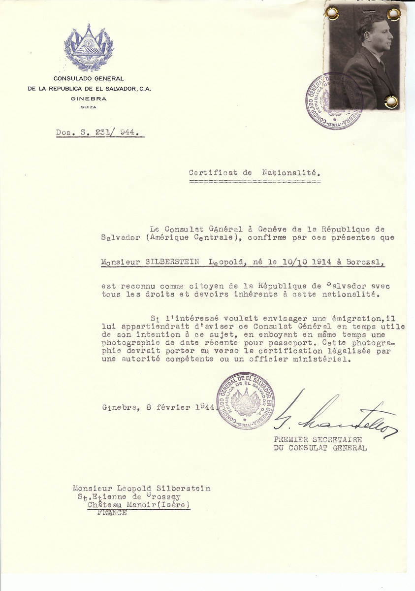 Unauthorized Salvadoran citizenship certificate issued to Leopold Silberstein (b. October 10, 1914 in Borozal) by George Mandel-Mantello, First Secretary of the Salvadoran Consulate in Switzerland and sent to his residence in the Chateau Manoir children's home in Saint Etienne de Crossey.   Chateau Manoir served as a religious children's home under the supervision of Rabbi Zalman Schneersohn.
