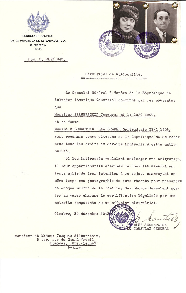 Unauthorized Salvadoran citizenship certificate issued to Jacques Silberstein (b. September 10, 1897) and his wife Gertrud (nee Graber) Silberstein (b. January 31, 1903) by George Mandel-Mantello, First Secretary of the Salvadoran Consulate in Switzerland and sent to their residence in Limoges.