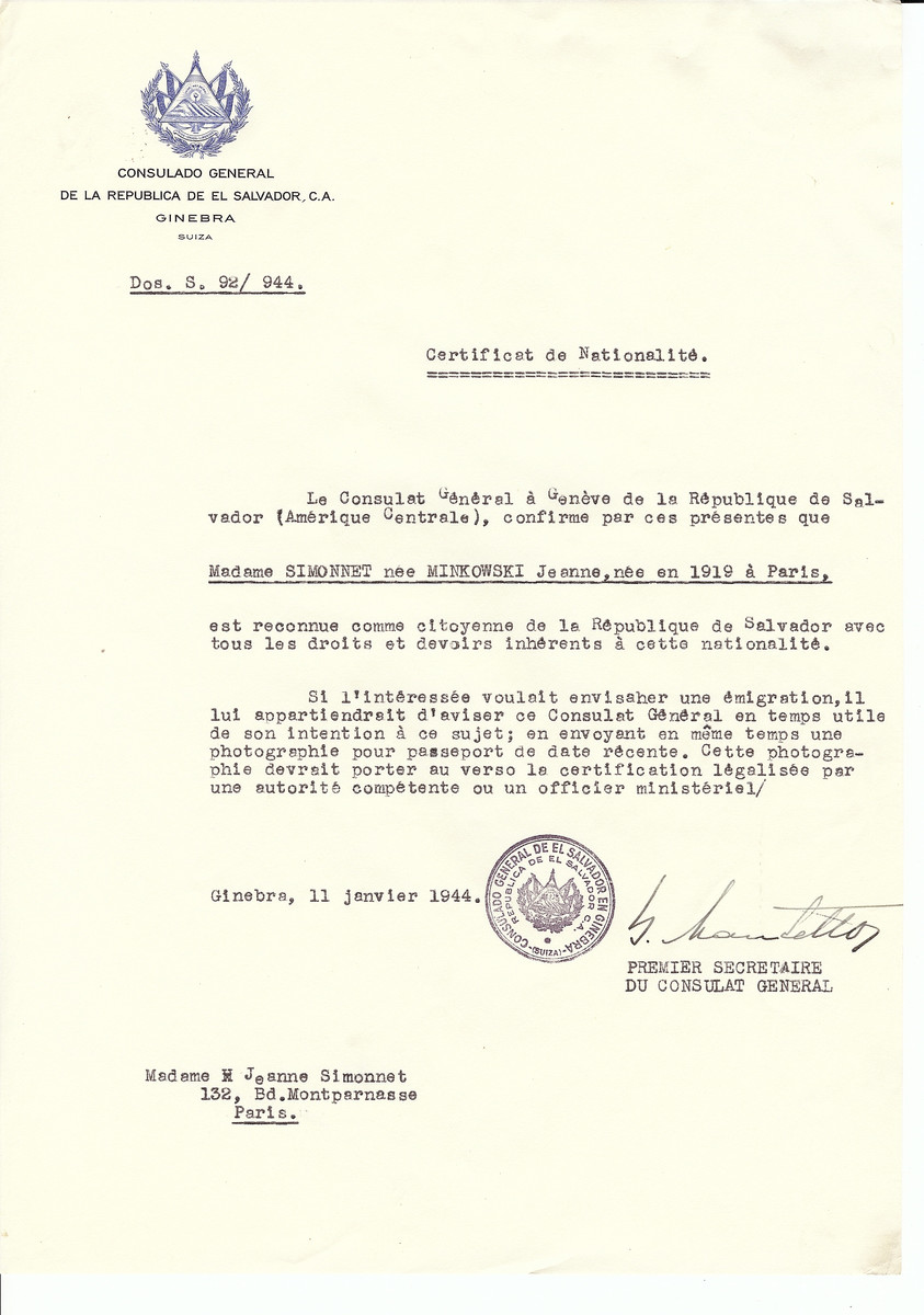 Unauthorized Salvadoran citizenship certificate issued to Jeanne (nee Minkowski) Simonnet (b. 1919 in Paris) by George Mandel-Mantello, First Secretary of the Salvadoran Consulate in Switzerland and sent to her residence in Paris.