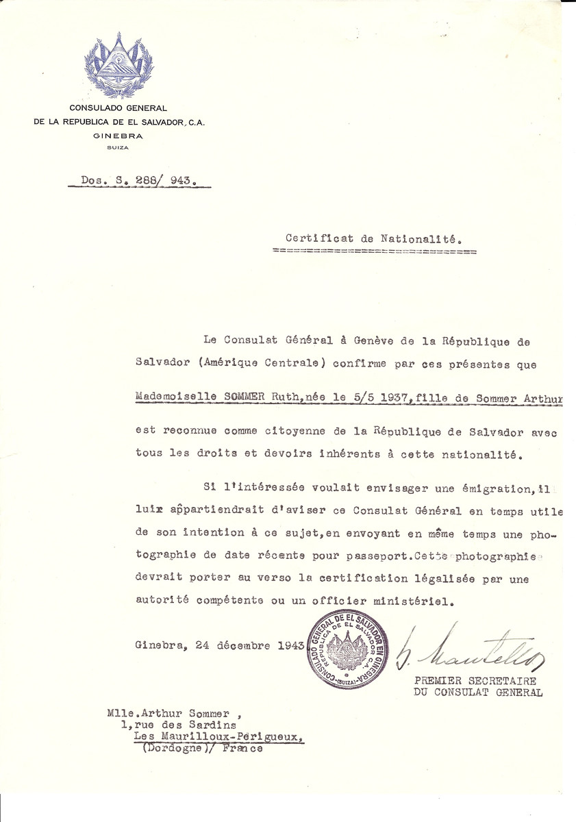 Unauthorized Salvadoran citizenship certificate issued to Ruth Sommer (b. May 5, 1937) by George Mandel-Mantello, First Secretary of the Salvadoran Consulate in Switzerland and sent to her residence in Les Maurilloux-Perigueux.