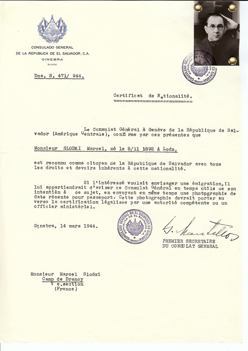 """Unauthorized Salvadoran citizenship certificate issued to Marcel Slodki (b. November 8, 1892 in Lodz) by George Mandel-Mantello, First Secretary of the Salvadoran Consulate in Switzerland and sent to him in the Drancy transit camp.   Mr. Marcel Slodki was an artist and recognized member of """"Ecole de Paris;"""" he was deported on Convoy 62 to Auschwitz where he perished."""