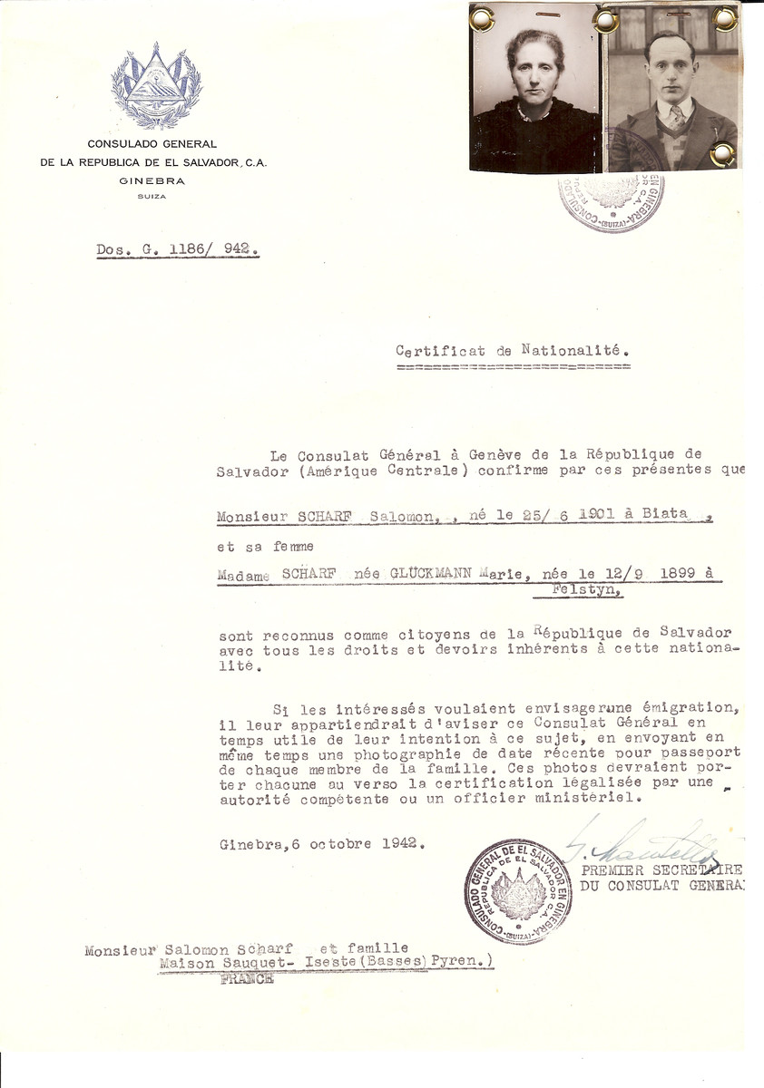 Unauthorized Salvadoran citizenship certificate issued to Salomon Scharf (b. June 25, 1901 in Biata) and his wife Marie (nee Glueckmann) Scharf (b. September 12, 1899 in Felstyn) by George Mandel-Mantello, First Secretary of the Salvadoran Consulate in Switzerland and sent to their residence in Maison-Sauquet-Iseste.