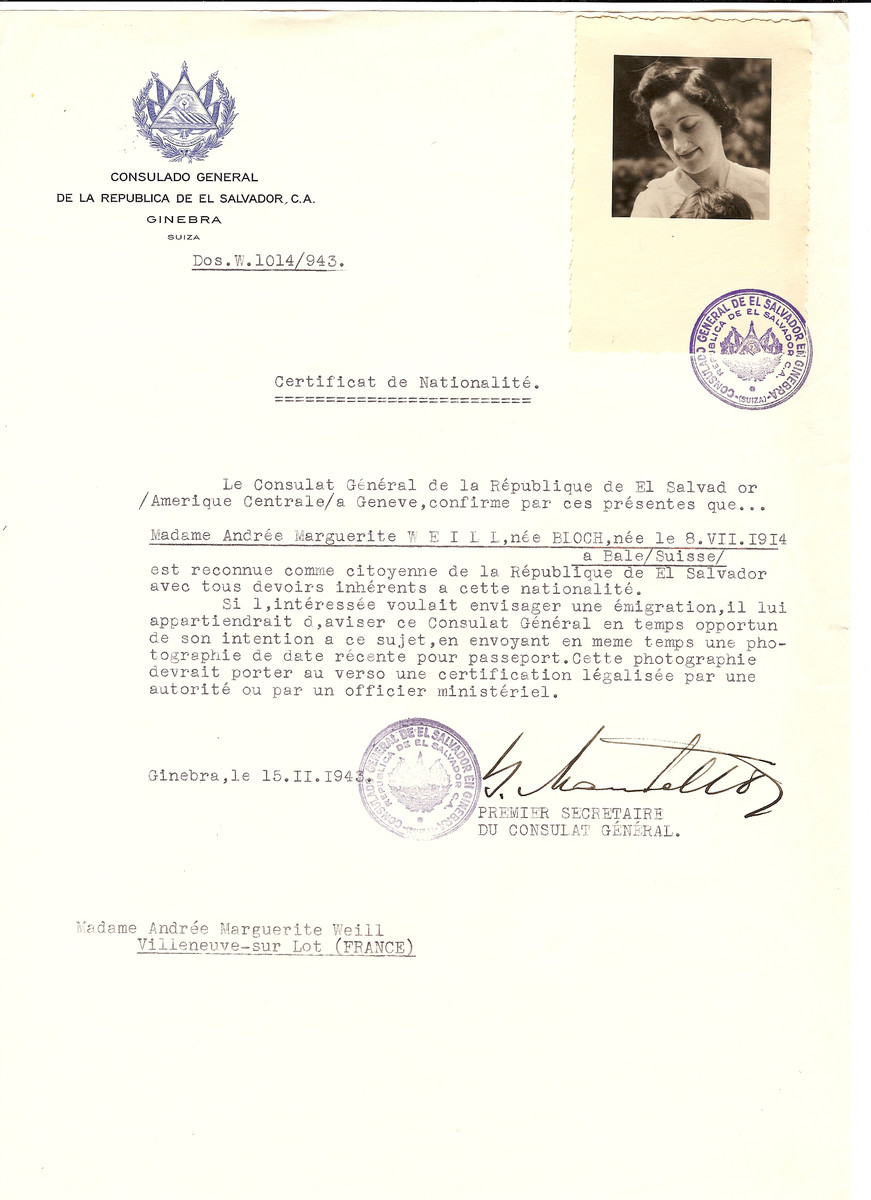 Unauthorized Salvadoran citizenship certificate issued to Andree (nee Bloch) Weill (b. August 8, 1914 in Bale, Switzerland) by George Mandel-Mantello, First Secretary of the Salvadoran Consulate in Switzerland and sent to her residence in Villeneuve-sur Lot.