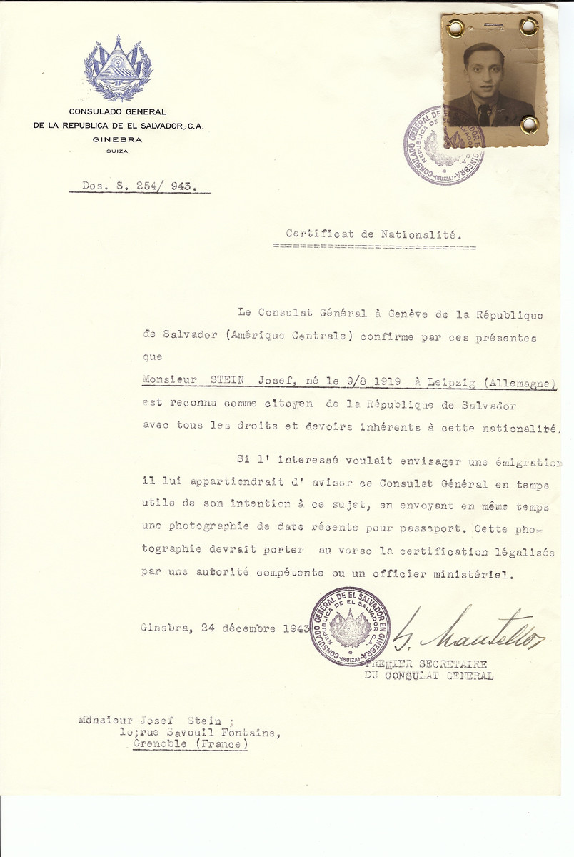 Unauthorized Salvadoran citizenship certificate issued to Josef Stein (b. August 9, 1919 in Leipzig) by George Mandel-Mantello, First Secretary of the Salvadoran Consulate in Switzerland and sent to his residence in Grenoble.
