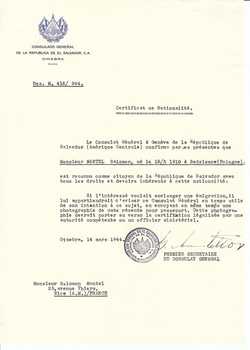 Unauthorized Salvadoran citizenship certificate issued to Salomon Mantel (b. May 18, 1910 in Sedziszow, Poland) by George Mandel-Mantello, First Secretary of the Salvadoran Consulate in Switzerland and sent to his residence in Nice.
