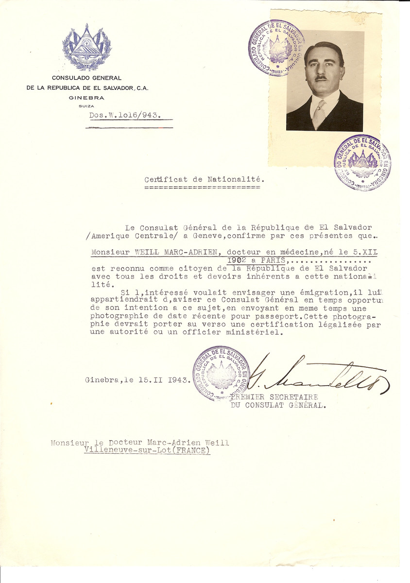 Unauthorized Salvadoran citizenship certificate issued to Dr. Marc-Adrien Weill (b. July 5, 1902 in Paris) by George Mandel-Mantello, First Secretary of the Salvadoran Consulate in Switzerland and sent to his residence in Villeneuve-sur-Lot.