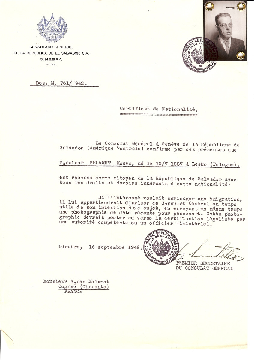 Unauthorized Salvadoran citizenship certificate issued to Moses Melamet (b. July 10, 1887 in Lesko, Poland) by George Mandel-Mantello, First Secretary of the Salvadoran Consulate in Switzerland and sent to his residence in Cognac.