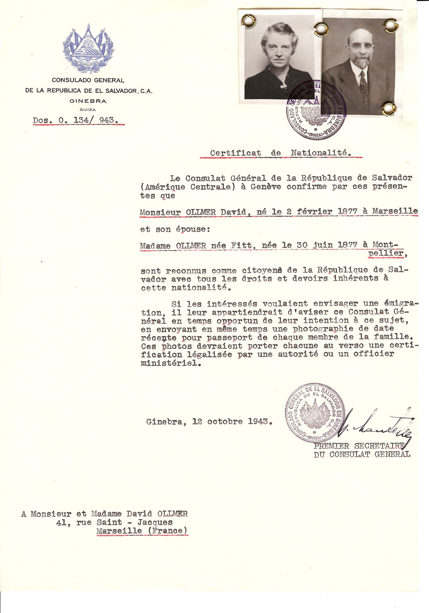 Unauthorized Salvadoran citizenship certificate issued to David Ollmer (b. February 2, 1977 in Marseille) and his wife (nee Fitt, b. June 30, 1977 in Montpellier) by George Mandel-Mantello, First Secretary of the Salvadoran Consulate in Switzerland and sent to their residence in Marseille.