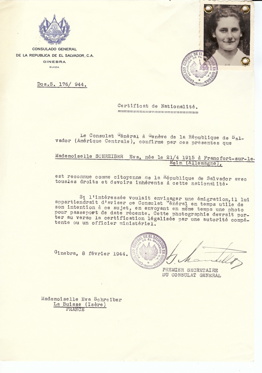 Unauthorized Salvadoran citizenship certificate issued to Eva Schreiber (b. April 21, 1915 in Frankfurt) by George Mandel-Mantello, First Secretary of the Salvadoran Consulate in Switzerland and sent to her residence in La Buisse.