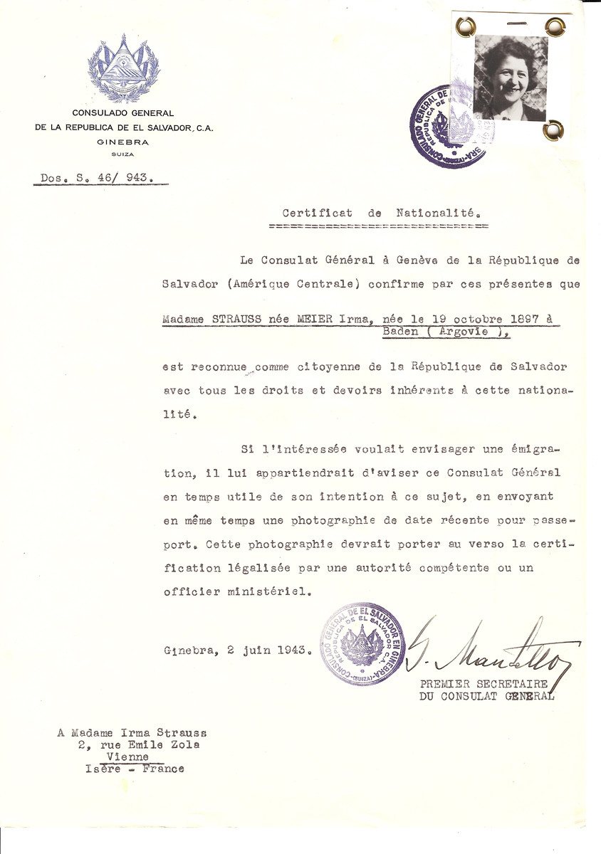 Unauthorized Salvadoran citizenship certificate issued to Irma (nee Meier) Strauss (b. October 19, 1897 in Baden) by George Mandel-Mantello, First Secretary of the Salvadoran Consulate in Switzerland and sent to her residence in Vienne.