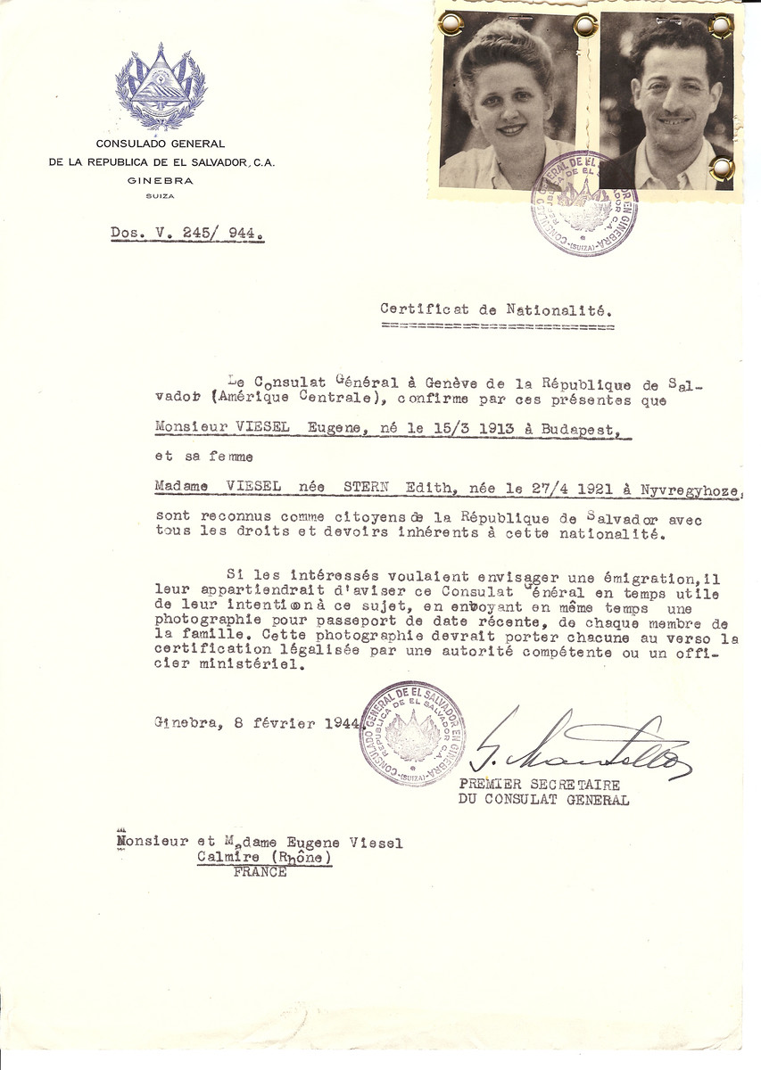 Unauthorized Salvadoran citizenship certificate issued to Eugene Viesel (b. March 15, 1913 in Budapest) and his wife Edith (nee Stern) Viesel (b. April 27, 1921 in Nyvregyhoze) by George Mandel-Mantello, First Secretary of the Salvadoran Consulate in Switzerland and sent to their residence in Calmire.