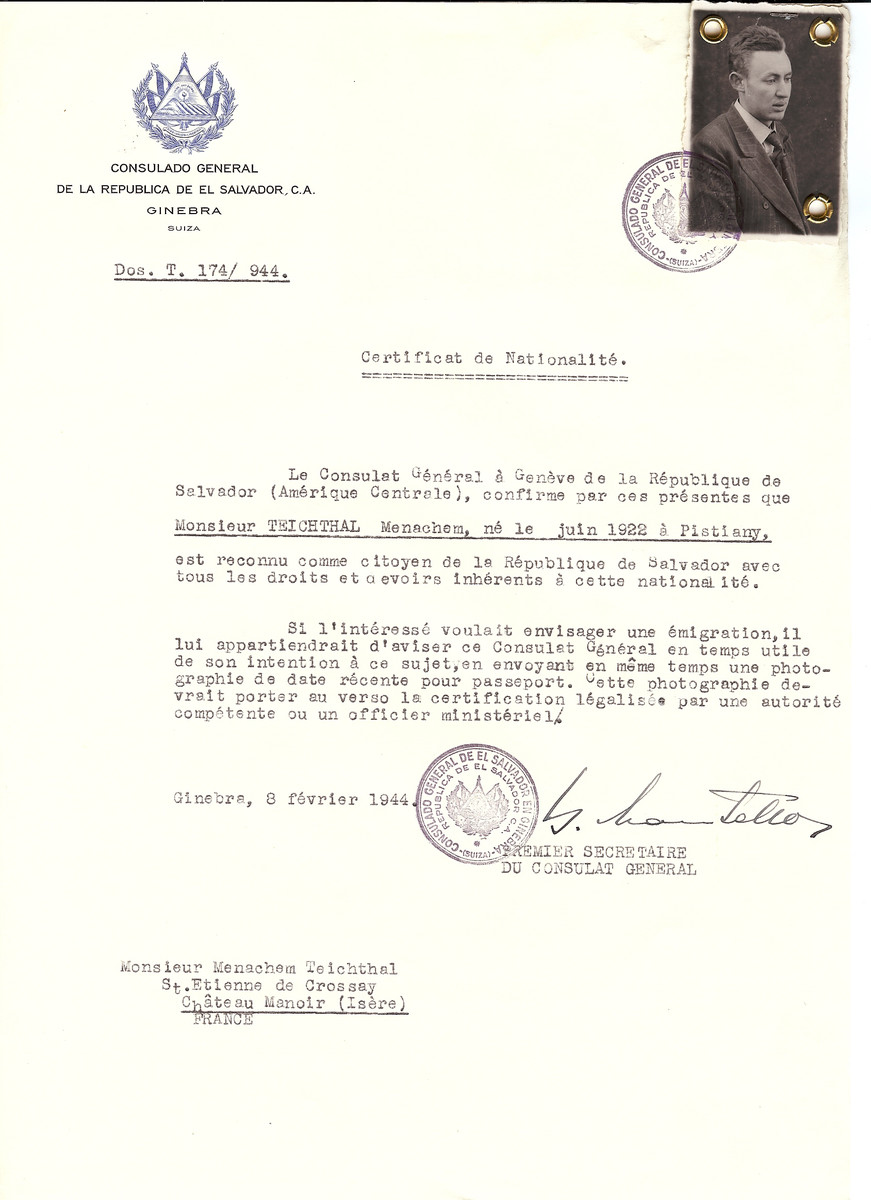 Unauthorized Salvadoran citizenship certificate issued to Menachem Teichthal (b. June 1922 in Pistiany) by George Mandel-Mantello, First Secretary of the Salvadoran Consulate in Switzerland and sent to his residence in Chateau Manoir.   Chateau Manoir served as a religious children's home under the supervision of Rabbi Zalman Schneersohn.